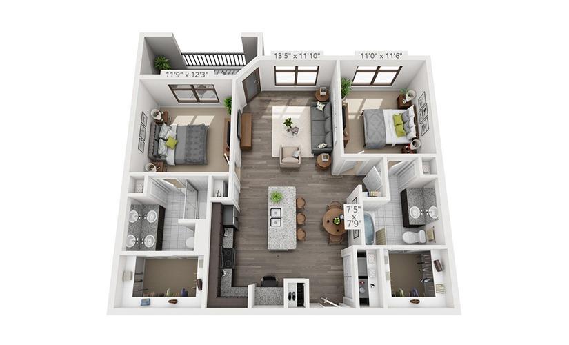 1,098 sq. ft. B1B floor plan