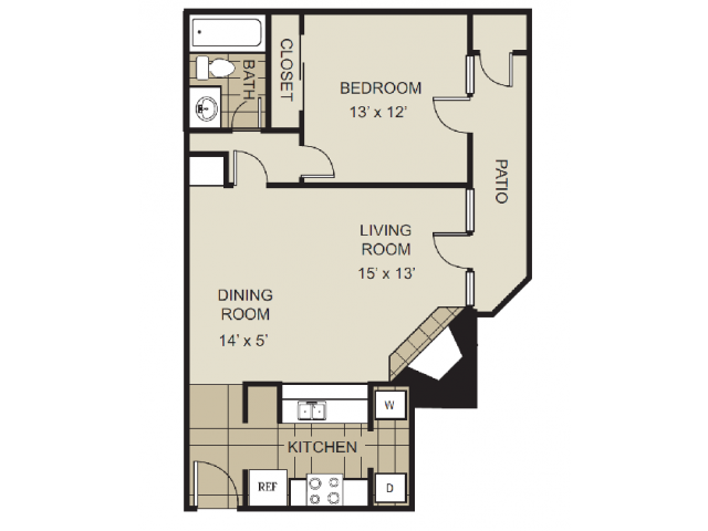 689 sq. ft. A3-C floor plan