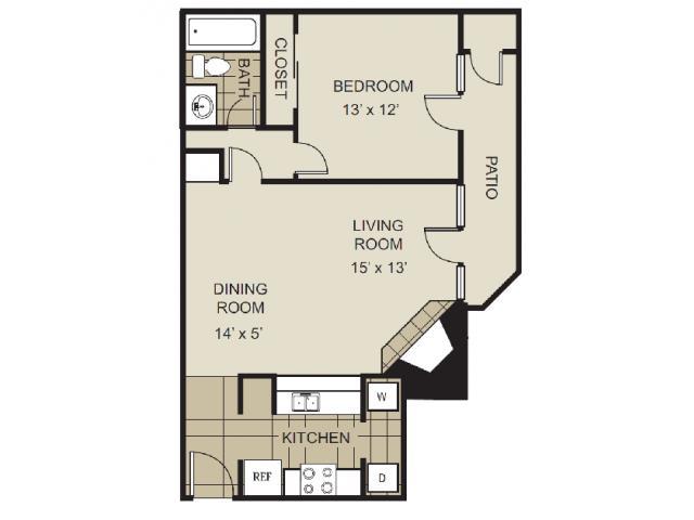 689 sq. ft. A3-C floor plan