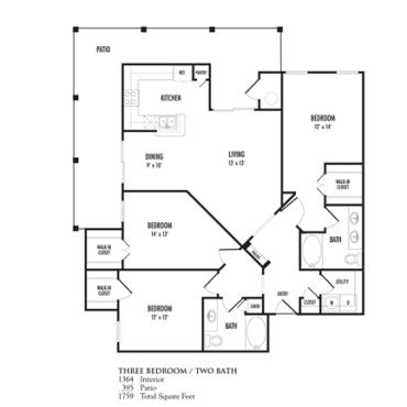 1,364 sq. ft. Portofino floor plan