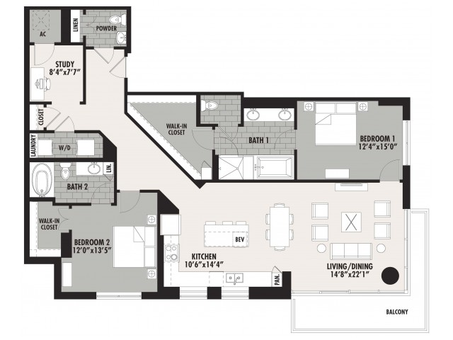 1,722 sq. ft. B13 floor plan