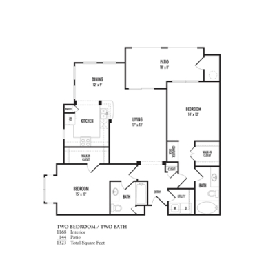 1,168 sq. ft. Anacapri floor plan