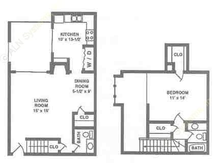 862 sq. ft. A2 floor plan