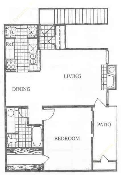 738 sq. ft. A2 floor plan