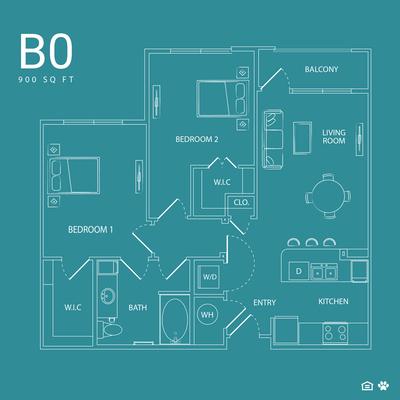 900 sq. ft. B0 floor plan