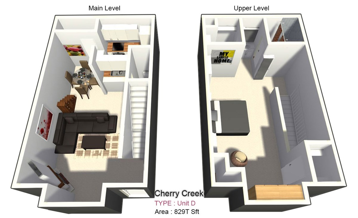 829 sq. ft. D floor plan