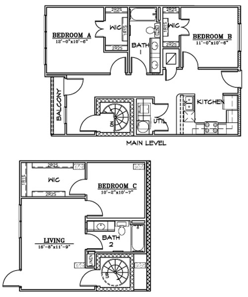 1,298 sq. ft. C4 floor plan