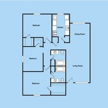 1,287 sq. ft. 3-2 floor plan