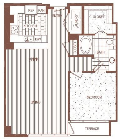 997 sq. ft. to 1,000 sq. ft. PH 3 floor plan