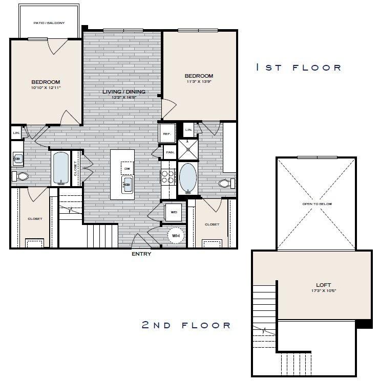 1,320 sq. ft. B2 floor plan