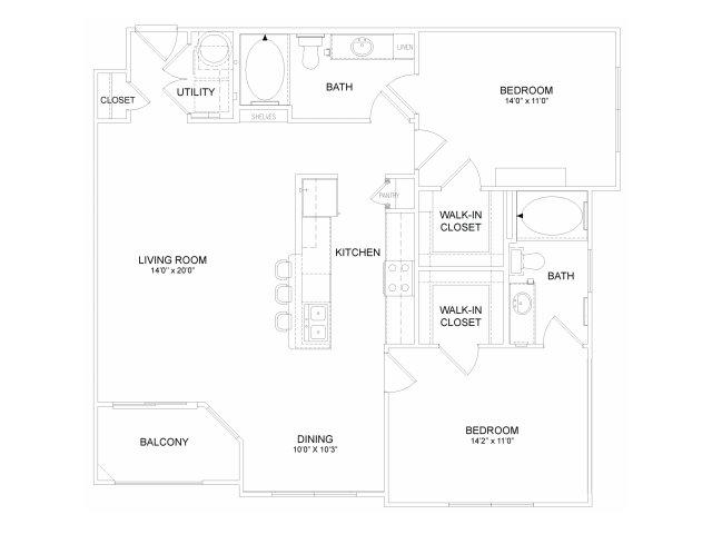 1,150 sq. ft. B4M floor plan