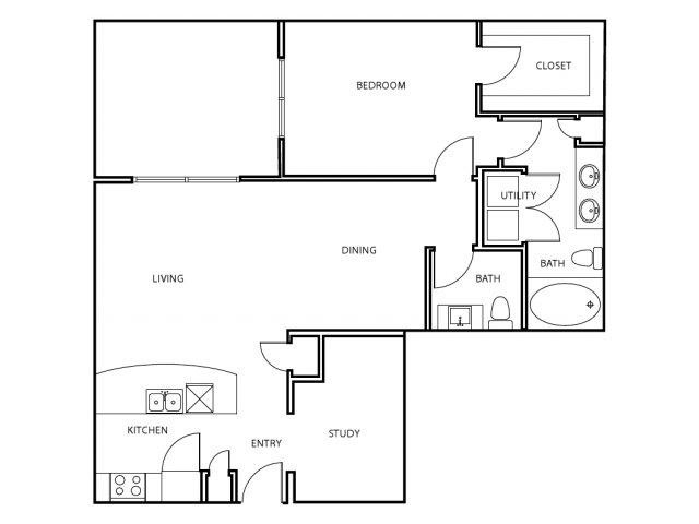 1,030 sq. ft. A7-E floor plan