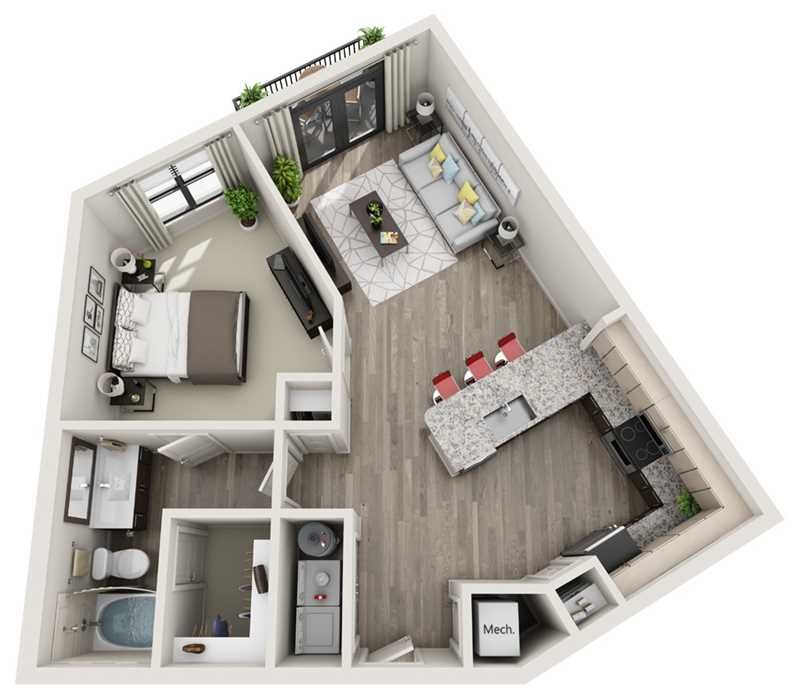 773 sq. ft. A6 floor plan