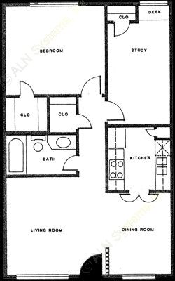 758 sq. ft. A-3 floor plan
