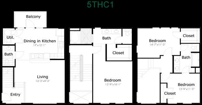 1,624 sq. ft. to 2,050 sq. ft. 5THC1 floor plan