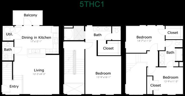 1,624 sq. ft. to 2,050 sq. ft. 5THC1 floor plan