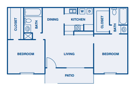 984 sq. ft. B2 floor plan