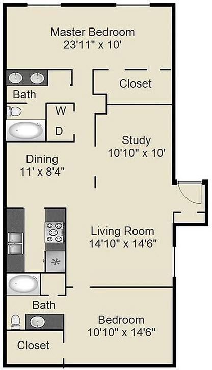 1,360 sq. ft. H floor plan