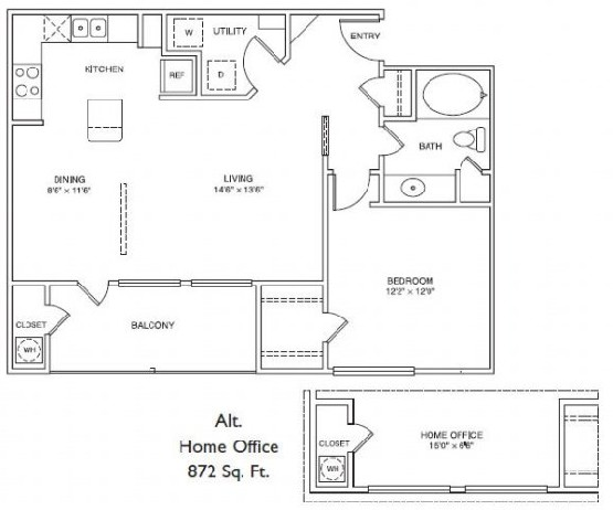 872 sq. ft. LA3H floor plan