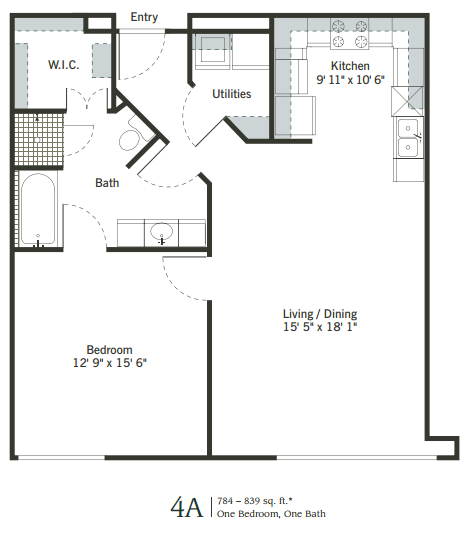 708 sq. ft. to 922 sq. ft. 4A floor plan