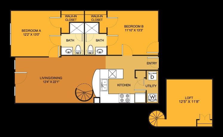 974 sq. ft. B7 floor plan