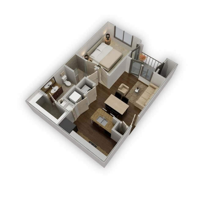 624 sq. ft. Serenity floor plan