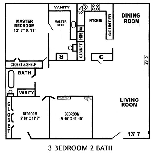 1,271 sq. ft. floor plan