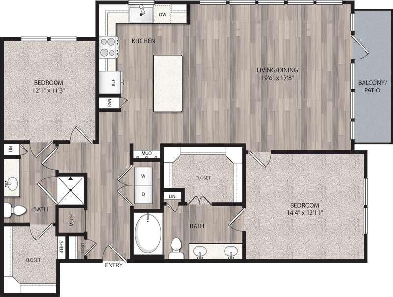 1,341 sq. ft. B4 floor plan