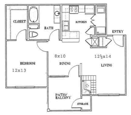 757 sq. ft. to 857 sq. ft. B floor plan