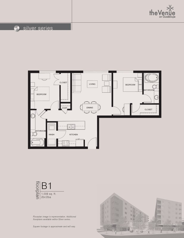 1,008 sq. ft. B1 floor plan
