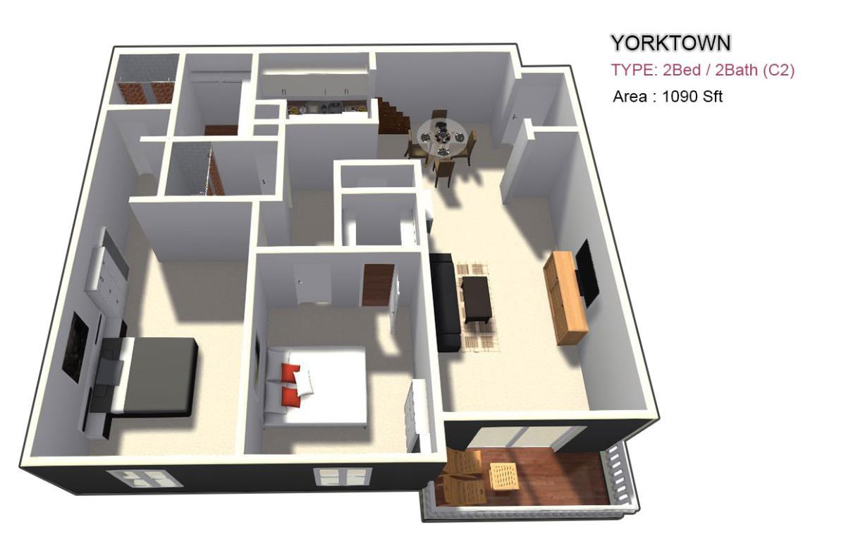 1,095 sq. ft. 2X2 floor plan