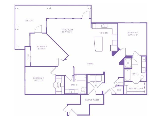 1,517 sq. ft. C1AG floor plan