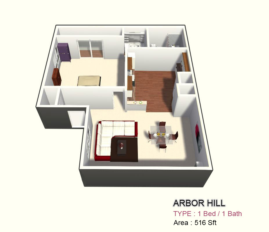 516 sq. ft. 1A floor plan