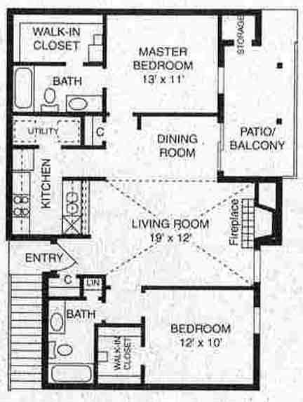 985 sq. ft. B-3 floor plan