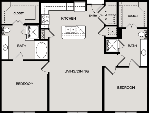 1,278 sq. ft. B4 floor plan