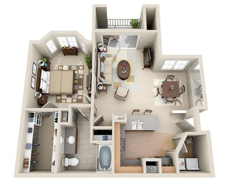 767 sq. ft. Sydney floor plan