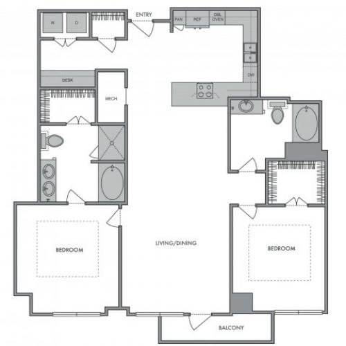 1,265 sq. ft. L floor plan