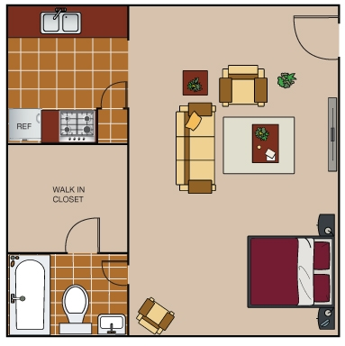 420 sq. ft. E1 floor plan