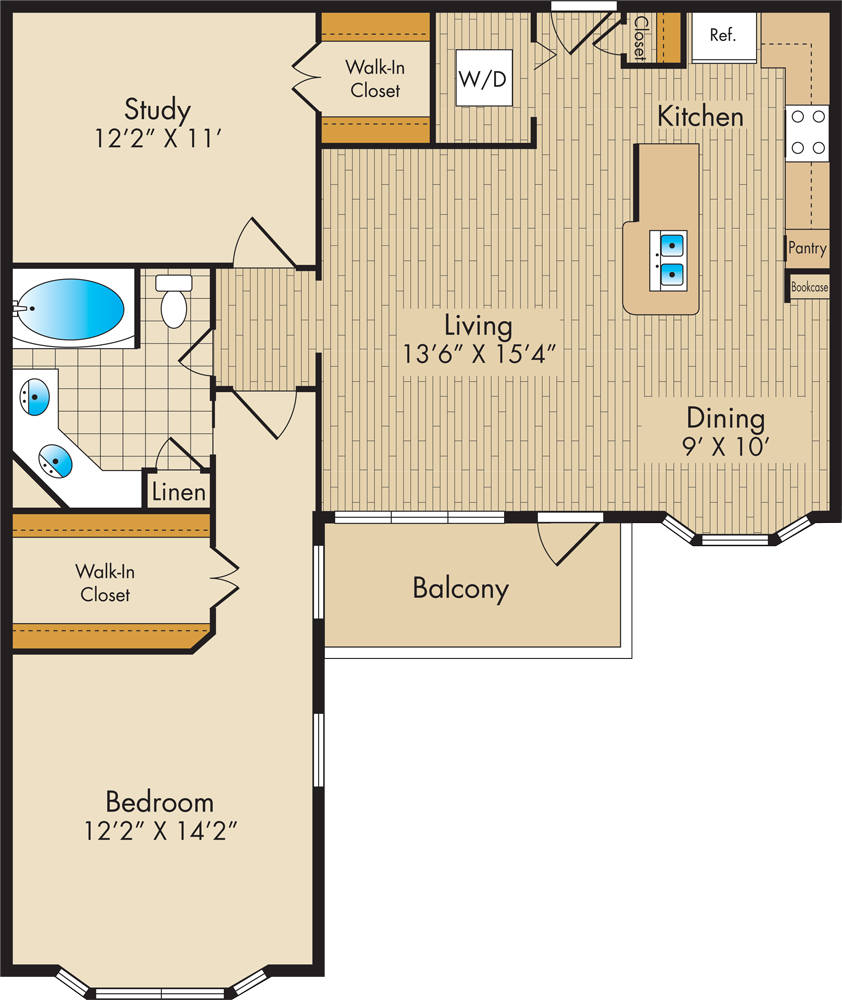 1,045 sq. ft. D1 floor plan