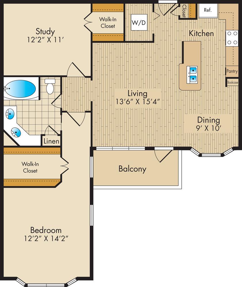 1,045 sq. ft. D1 floor plan