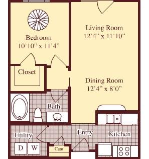 693 sq. ft. A1 floor plan