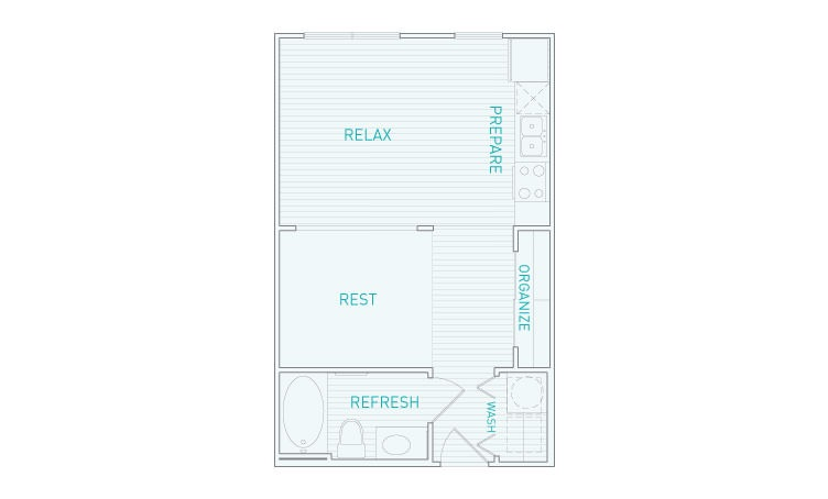 475 sq. ft. A, AP, AJ floor plan
