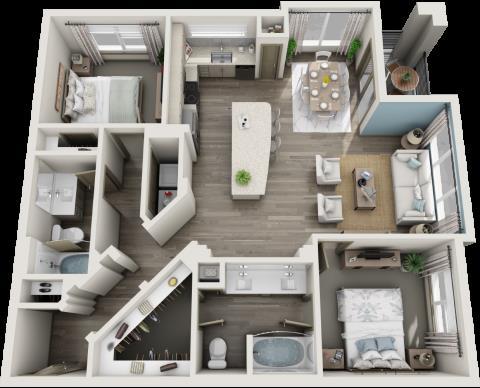 1,152 sq. ft. to 1,173 sq. ft. B3 floor plan