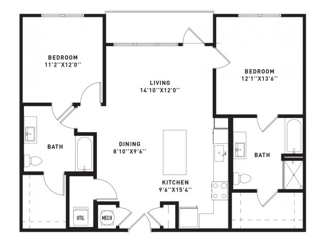 1,126 sq. ft. B4 floor plan