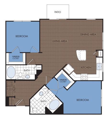 1,164 sq. ft. C3 floor plan
