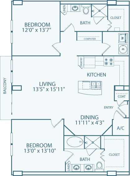 1,399 sq. ft. B5 floor plan