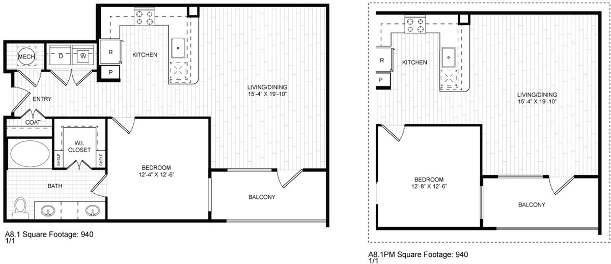 940 sq. ft. A8 floor plan