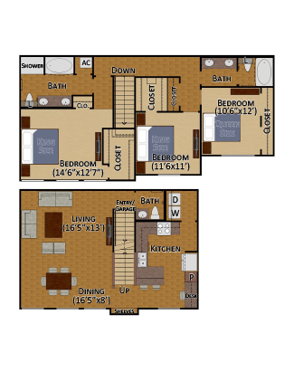 1,711 sq. ft. C1 floor plan