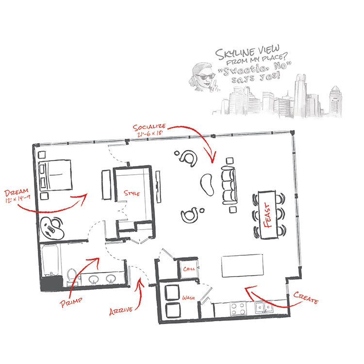 1,051 sq. ft. L2 floor plan