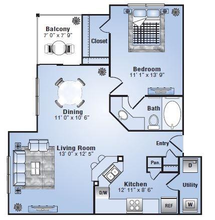 786 sq. ft. Laredo floor plan